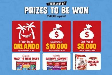 Campbells Instant Win Contest (Over 180,000 Prizes) | Free