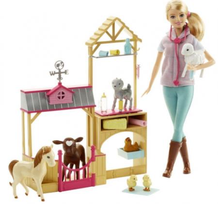 barbie farm vet doll playset