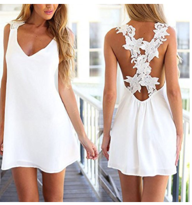 white v neck party dress